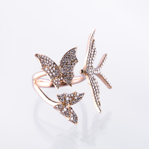 Bird & Butterflies Ring