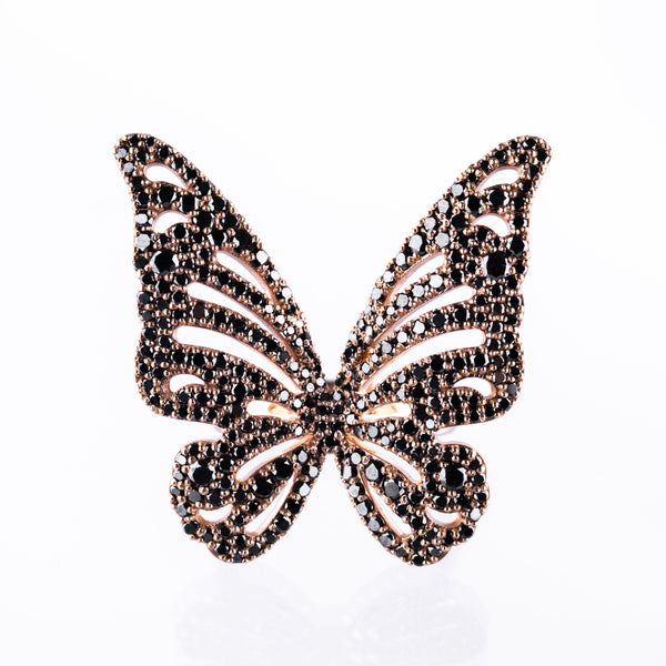 Butterfly Ring Black - LimeLiteJewellery.com