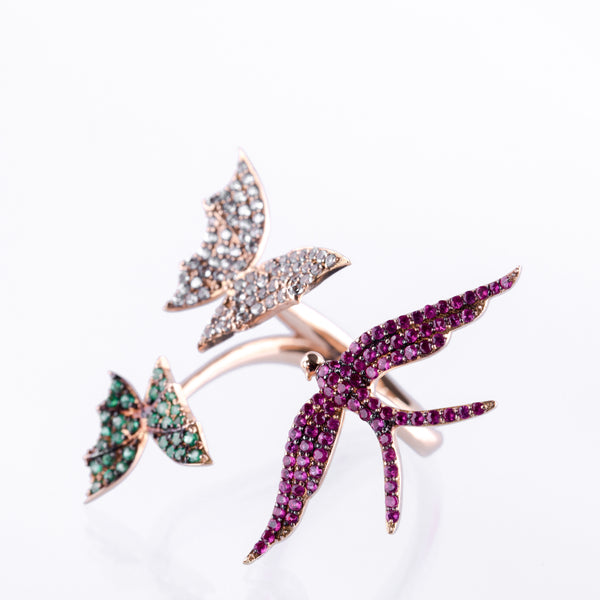 Colourful Bird & Butterflies Ring