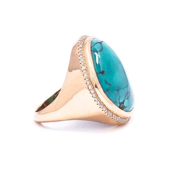 Turquoise & White Diamond Cocktail Ring
