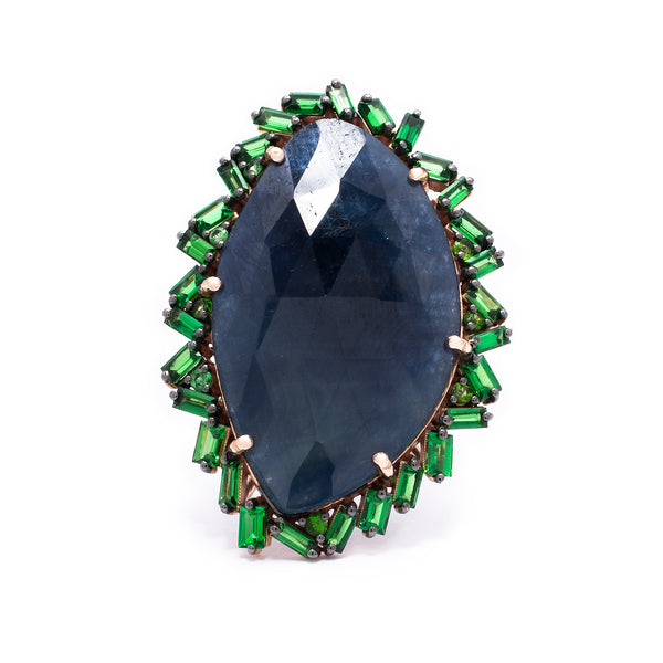 Sapphire & Emerald Cocktail Ring - LimeLiteJewellery.com