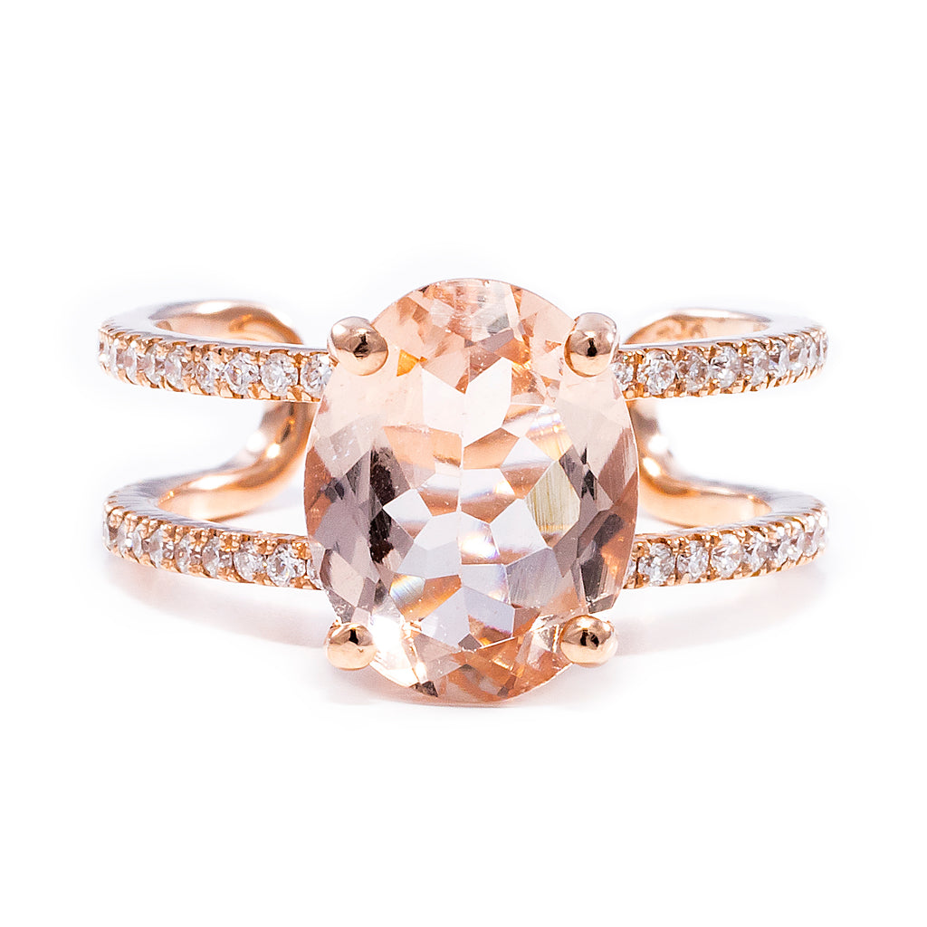 Double Pave Morganite Ring