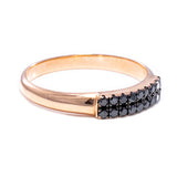 Black Double Row Pinky Ring