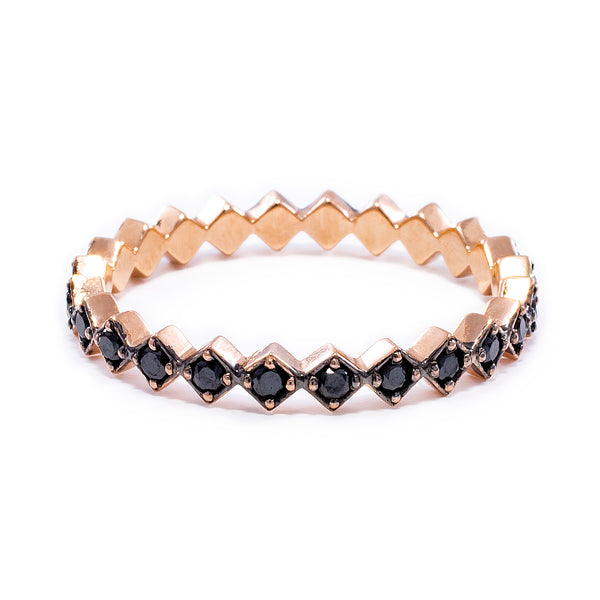 Black Zig Zag Eternity Ring