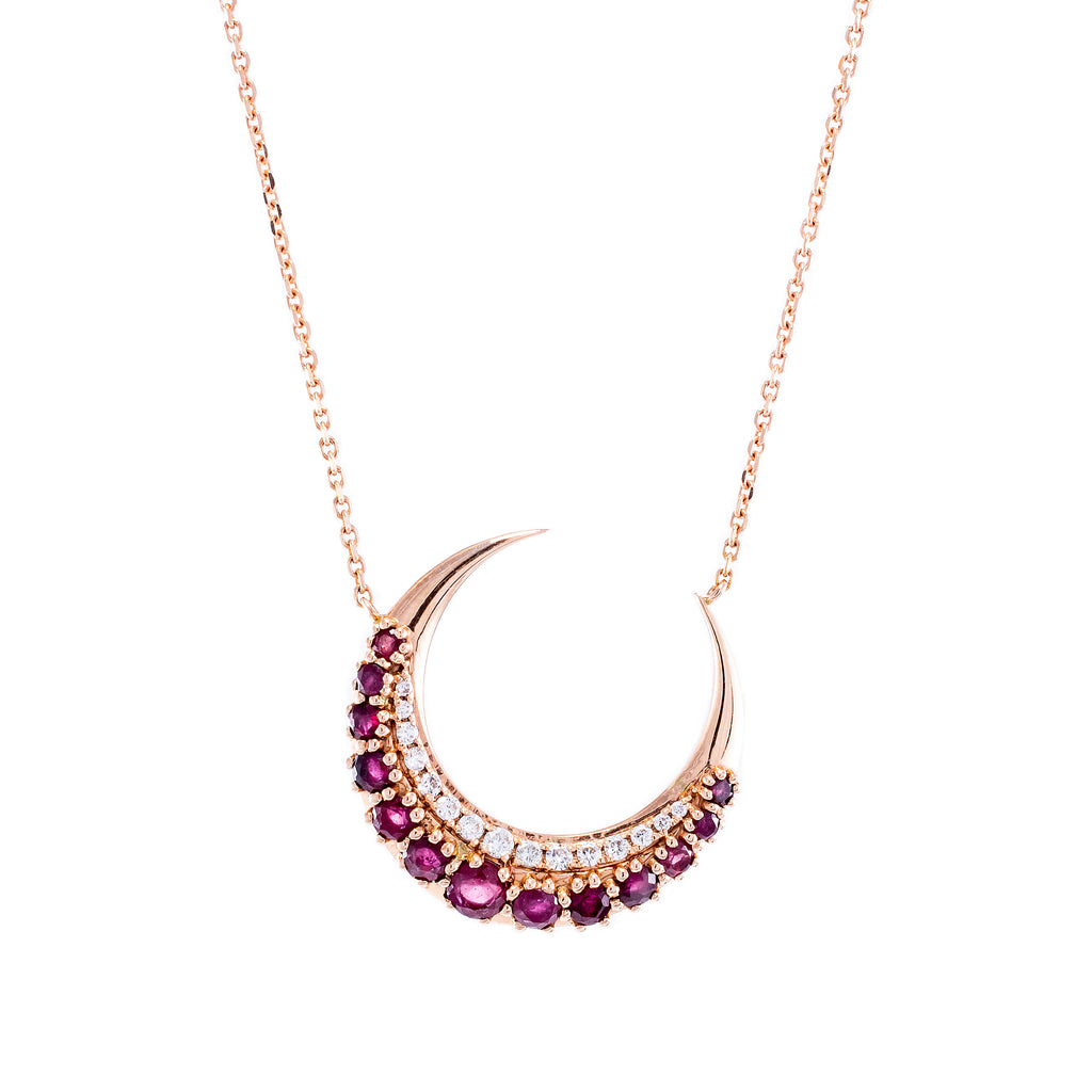 Ruby & Diamonds Moonsharp Necklace