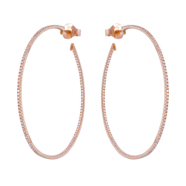 Thin White Diamond Hoops