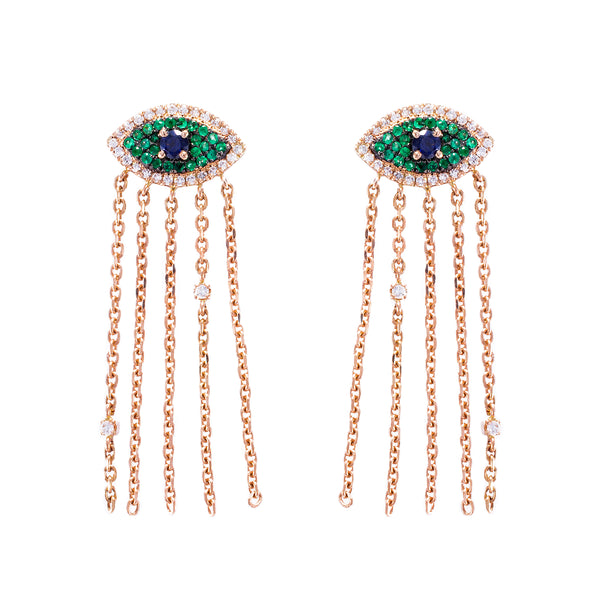 Fringed Evil Eye Earrings
