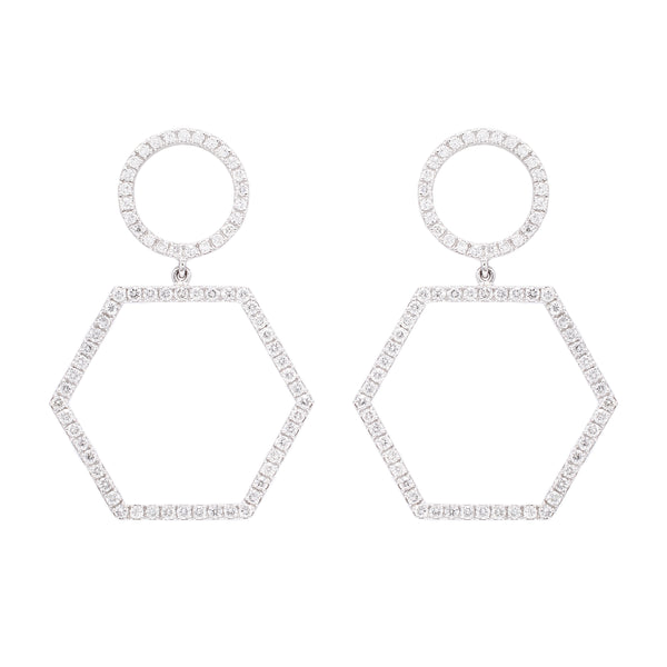 Hexagon Circle Earrings - LimeLiteJewellery.com