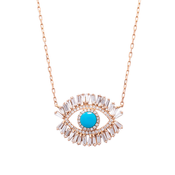 Baguette Evil Eye Necklace - LimeLiteJewellery.com