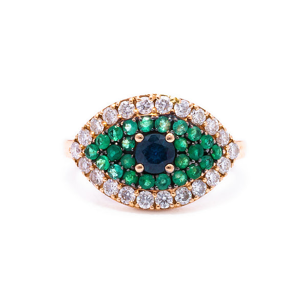 Green Evil Eye Ring - LimeLiteJewellery.com
