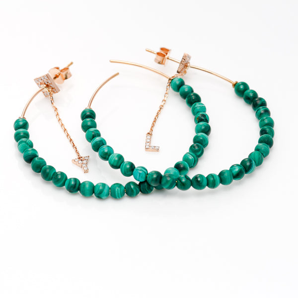 Malachite Initial Hoops