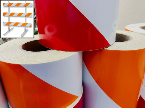Reflective Striped Barricade Tape (Red/White or Orange/White)