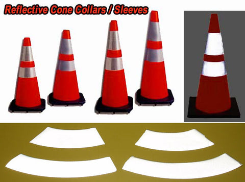 Reflective TRAFFIC CONE Collars - Wrap Around Self Adhesive