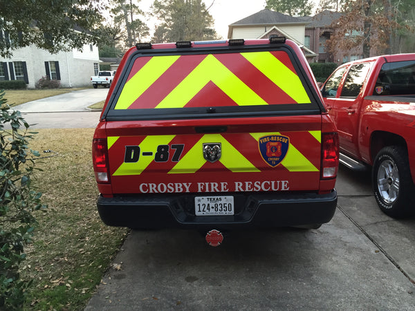 Fire Brush Truck after Oralite reflective chevron panels are applied