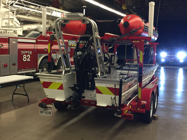Lime and Red Reflective Chevrons - Water Rescue Vehicle
