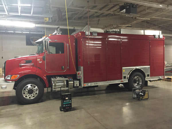 Heavy rescue fire truck before reflective tape