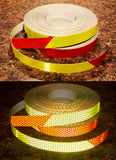 One Inch Lime Yellow Red Striped Reflective Tape