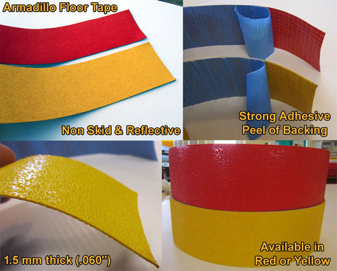 "Armadillo Floor Tape - Reflective & Non Skid - 3"" x 108' Rolls - 5 Colors"