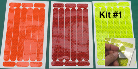 Reflective Hard Hat Decals Kit #1 (Marks 3 Hard Hats) - 5 Colors