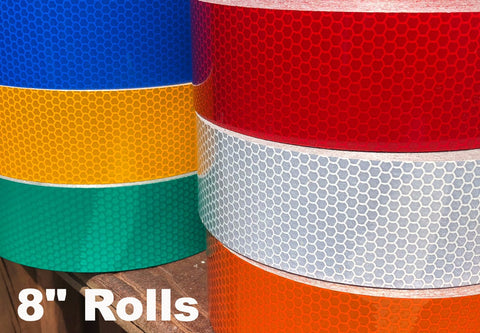 "8"" High Intensity Type 3 Reflective Tape Rolls - 150' Rolls"