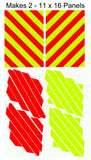 Motor Cycle Chevron Panel Kits - Lime and Red