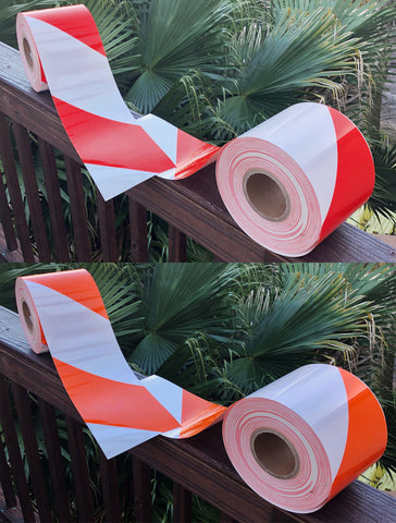 30 foot rolls orange red white reflective striped tape