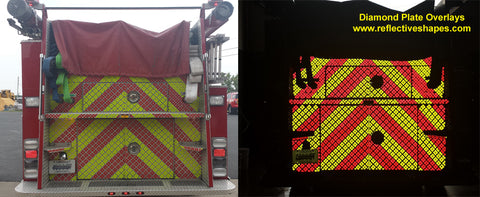 Reflective Overlays for Diamond Plate - Peel & Stick - Lime & Red - NFPA 1901