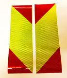 Small Reflective Chevron Panels - Self Adhesive - Lime & Red (Pair-Left & Right)