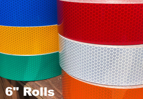 "6"" High Intensity Type 3 Reflective Tape Rolls - 150' Rolls"