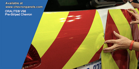 2 Piece Striped Chevron Panel Kits - Lime and Red Combination