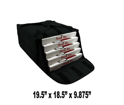 "PF4/1618DHB - Fabric Pizza Bag, Rigid Hardboard Support System, Holds 4-5 16-18"" Pizzas, Side Loading, Black (Packed 5 Per Case -- Unit Price: $21.99) - Ultimate Pizza Bag"