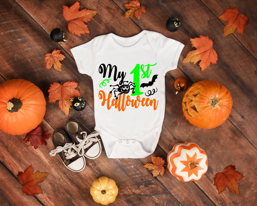 My 1st Halloween Onesie /Halloween Bodysuit/Halloween Outfit/Green Black Halloween/Baby Halloween/Halloween Photo Prop/Spider Baby Costume