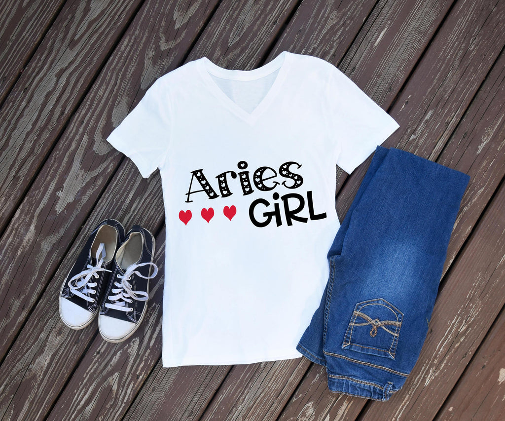 Aries T shirt, Women's T shirt, Ladies Shirt, Zodiac sign, Zodiac Shirt, Gifts for Her, Birthday Shirt, Birthday Girl, White Tee