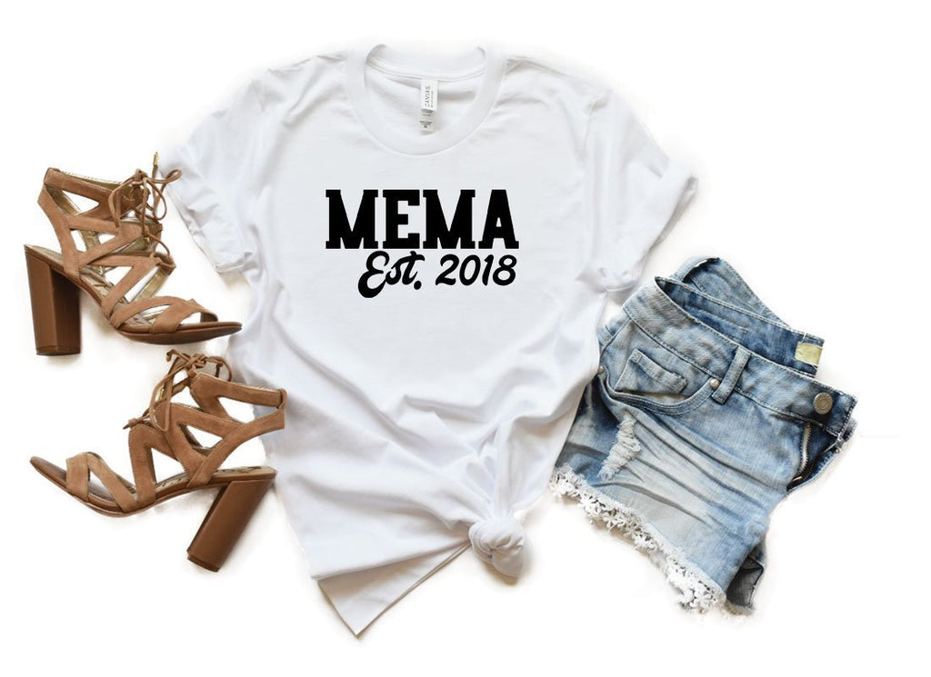 Mema Shirt, Gift for Mema, Grandmother Gift, New Mema, Memaw, Memaw Shirt, Baby Announcement, Grandparents Day, Gift for Grandma, Mema Est.