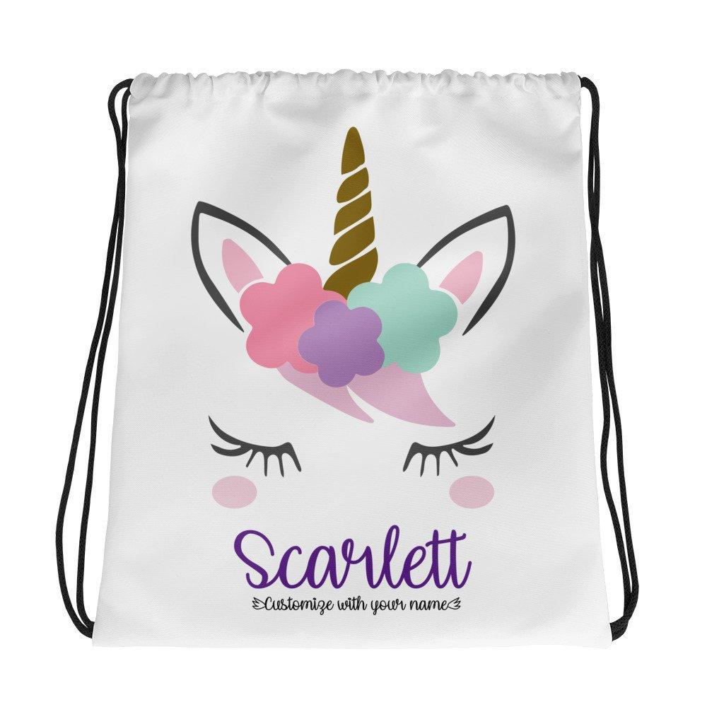 Personalized Unicorn Drawstring bag, School Bag, Gym Bag
