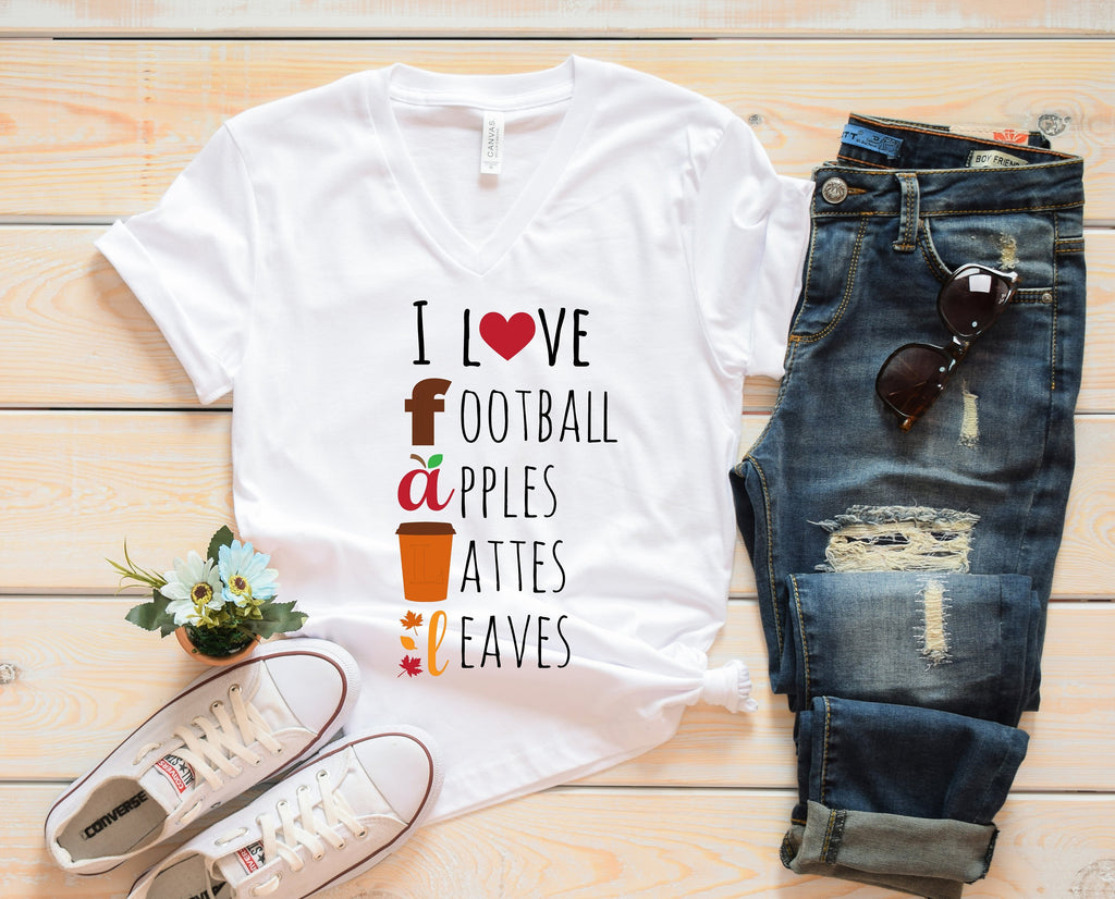 Fall Womens Shirt, Women's Shirt, Clothing, Gifts under 30, Gifts for her, Fall Womens Clothing, Football Shirt, Love Lattes Shirt