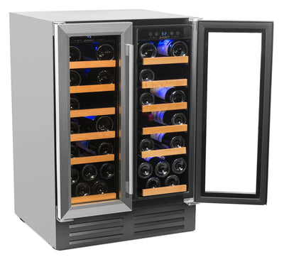 "40 Bottle Deluxe Dual Zone RW116D 24"" Wide"