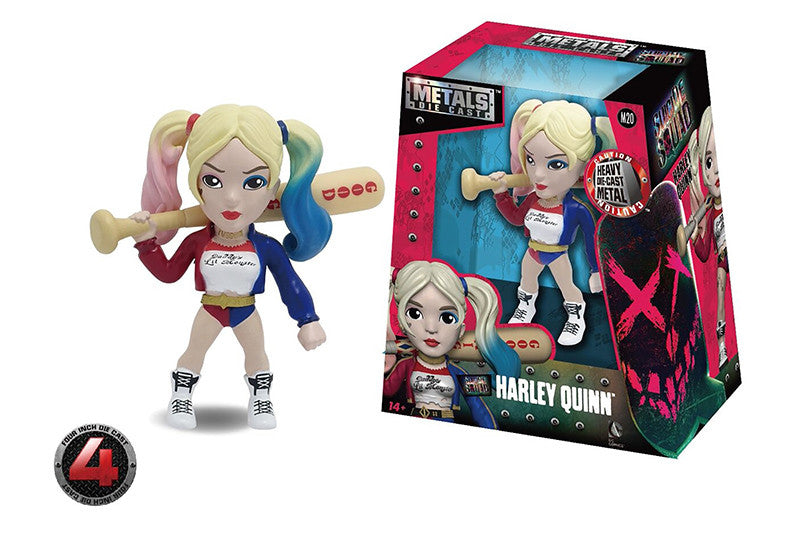 "Metals Die Cast | Suicide Squad - Harley Quinn - 4"" Diecast Model Toy - Blue/Red/White - Jada Toys"