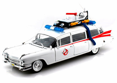 Mattel Hot Wheels - Ghostbusters Ecto-1 Ambulance -1/18 Scale Diecast Model Car, White - BCJ75