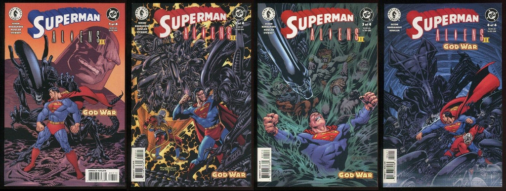 Superman vs Aliens II God War Comic set #1-2-3-4 Lot Dark Horse Bagged & Boarded