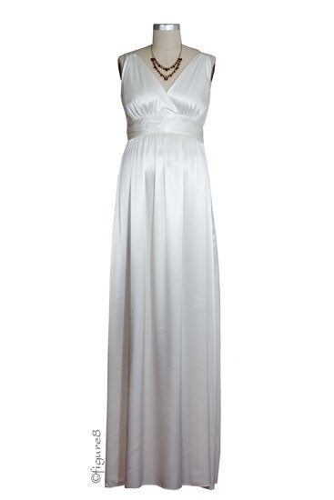 Ripe Deluxe Satin Evening Maternity Gown - Ivory - M