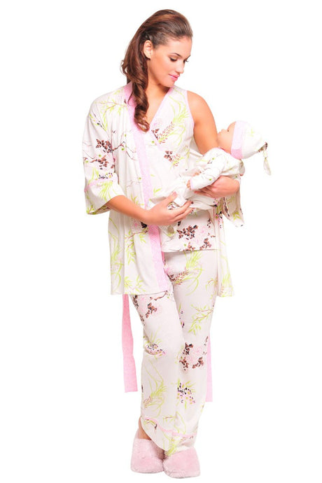Olian Rose 5-Piece Nursing PJ Set with Baby Outfit - Pink Floral Asian Print - L