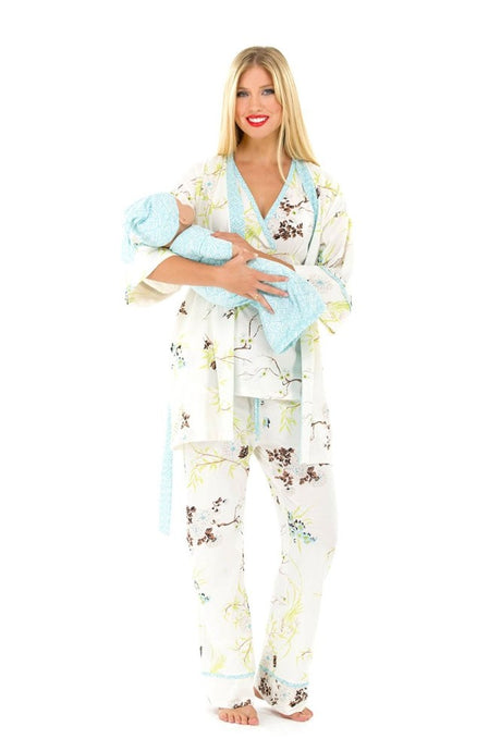 Olian Rose 5-Piece Nursing PJ Set with Baby Outfit - Blue Floral Asian Print - M