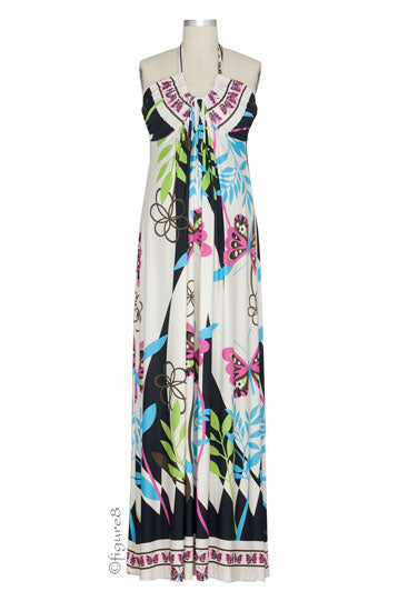 Olian Ezzie Maxi Maternity Dress - Butterfly Print - M