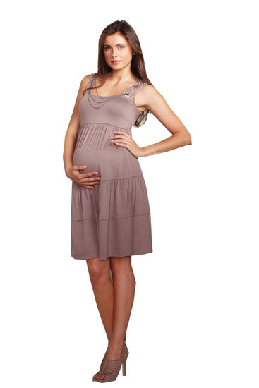 Vintage Tiered Embellished Maternity Dress - Cocoa - L