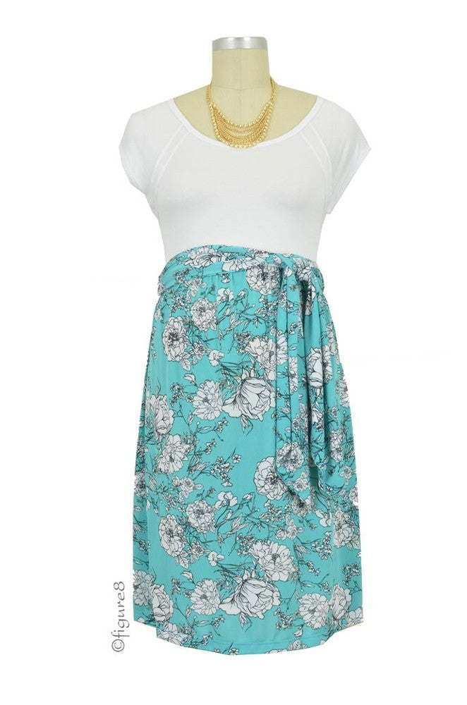 72d2c284fd5 Maternal America Scoop Neck Front Tie Maternity Dress- White Floral print - Size  Small