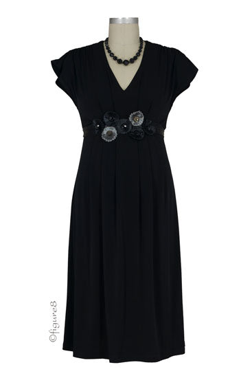 Ivy Embellished Maternity Dress - Black - S
