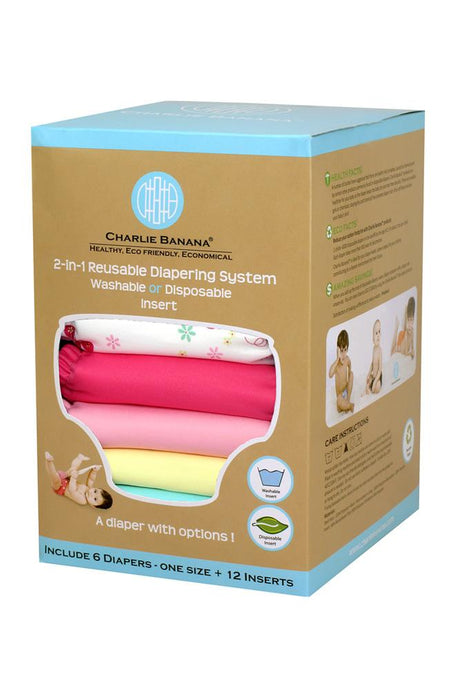 Charlie Banana® 2-in-1 Reusable Diapers - 6 Pack - Butterfly - One Size