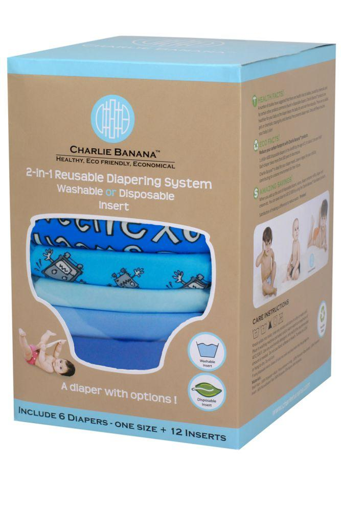 Charlie Banana® 2-in-1 Reusable Diapers - 6 Pack - Matthew Languille- Boy - One Size