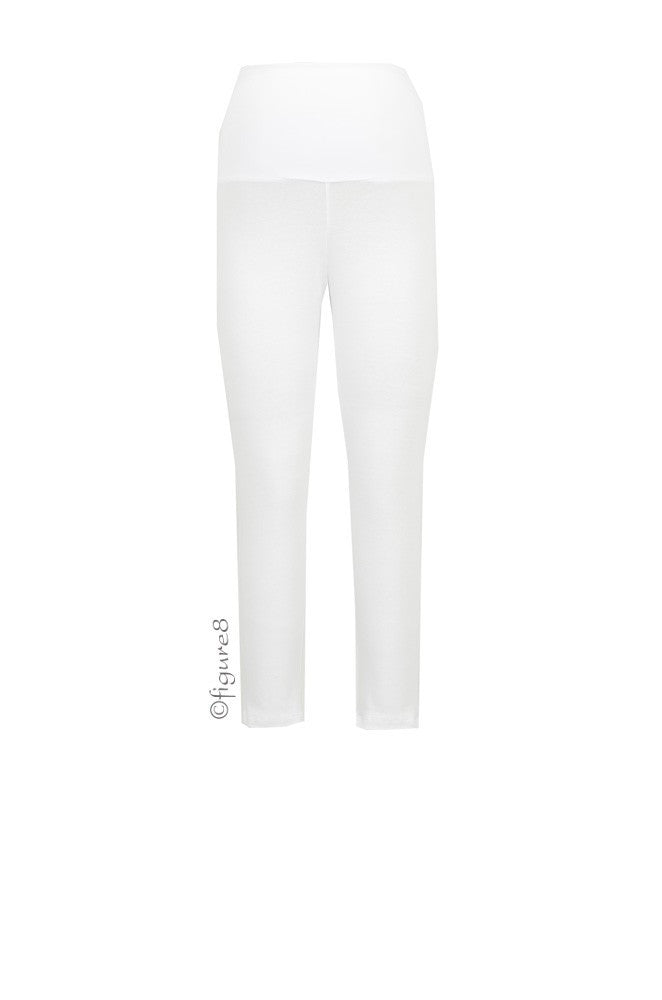 Tummy Tuck Crop Leggings - White - Size Small